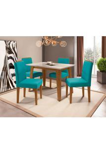 Conjunto De Mesa De Jantar Com Tampo De Vidro Jade E 4 Cadeiras Ana Veludo Off White E Turquesa