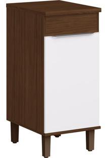 Armário De Cozinha 1 Porta Com Pés Cs602P Cacau/Branco - Decibal Móveis
