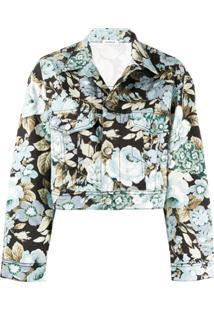 P.A.R.O.S.H. Jaqueta Jeans Cropped Com Estampa Floral - Preto