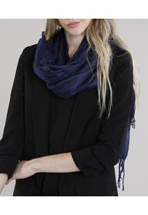 Cachecol Feminino Básico Amplo Com Franjas Azul Marinho - Único