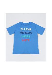 "Camiseta Infantil Tal Mãe Tal Filho We'Re Late"" Manga Curta Azul"""
