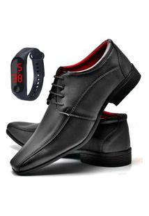 Sapato Social Fashion Com Relógio Led Fine Dubuy 804El Preto