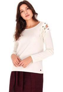 Camiseta Feminina Sidewalk Manga Longa Ilhos Off White - Feminino