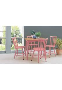 Mesa Vintage Com Cadeiras Mimo 80Cm Verniz Jatobá E Laca Rosa Coral