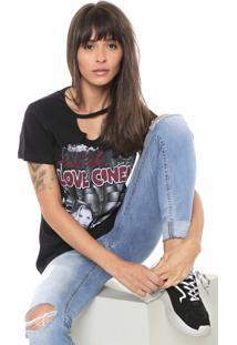 Camiseta Coca-Cola Jeans Estampada Preta