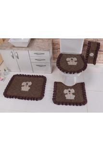 Jogo De Banheiro Heloisa Confecções Bordado Com Babado Onix 03 Peças Tabaco Dog