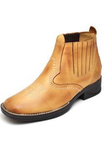 Bota Couro Dr Shoes Elástico Amarelo - Kanui