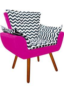 Poltrona Decorativa Opala Suede Composê Estampado Zig Zag Azul D02 E Suede Pink - D'Rossi