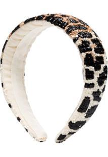 Ganni Headband Com Contas E Animal Print - Branco