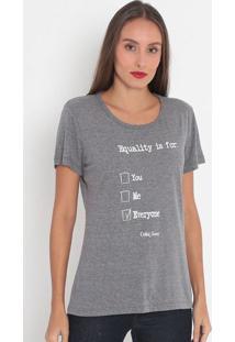 """Camiseta """"Equality Is For""""- Cinza & Preta- Coca-Colacoca-Cola"""