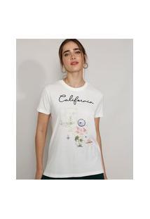 "T-Shirt Feminina Mindset Com Bordado California"" Manga Curta Decote Redondo Off White"""
