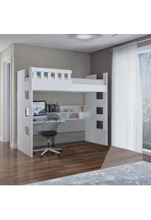 Cama Alta C/ Escrivaninha E Grade De Proteção Branco M Foscarini