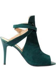 Ankle Boot Mahasa Suede Salto Fino - Feminino-Verde Escuro