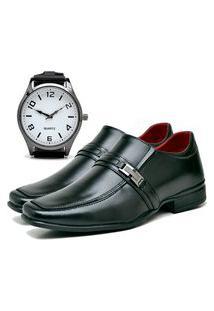 Sapato Social Urbano Com Relógio New Masculino Dubuy 827Db Preto