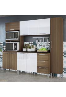 Cozinha Compacta 9 Portas 3 Gavetas Alice 0429T Castanho/Branco - Genialflex