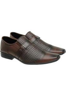 Sapato Social Masculino Elástico Fivela Textura Conforto - Masculino-Marrom