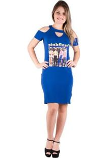 Vestido Blusão Com Estampa - Banna Hanna - Feminino-Azul Royal