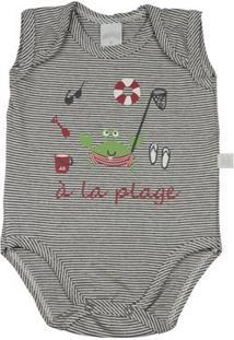 Body Infantil Ano Zero Malha Listrada Catalina À La Plage Masculino - Unissex-Preto