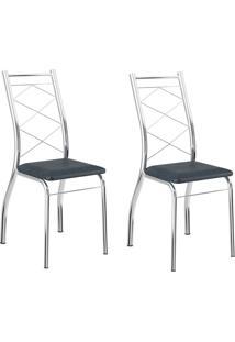 Kit 2 Cadeiras 1710 Jeans/Cromado - Carraro Móveis