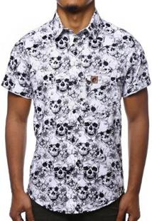 Camisa Camaleão Urbano Caveira Skull Masculina - Masculino-Branco