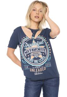 Camiseta My Favorite Thing(S) Recortes Azul-Marinho