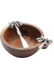 Jogo De Bowl & Espátula Palmeira- Marrom & Prateado-Bon Gourmet