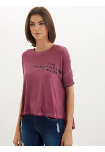Camiseta John John Heaven Streets Malha Vermelho Feminina (Cinza Escuro, G)