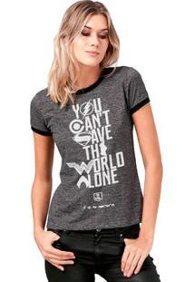 Camiseta Ringer Liga Da Justiça You Can'T Save Bandup! Feminina - Feminino-Mescla