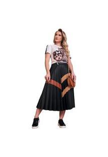 T-Shirt Com Detalhe Em Veludo, Ilhós E Bordados Manuais Fascínius Off-White