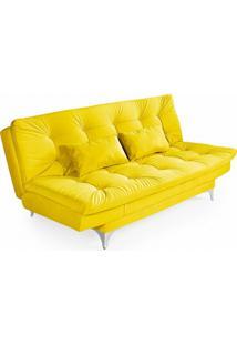 Sofá-Cama 3 Lugares Casal Com Chaise Versátil Veludo Liso Amarelo