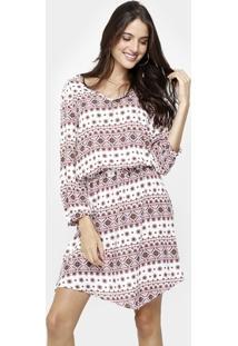 Vestido Facinelli Estampado Elastico Cintura-230137 - Feminino