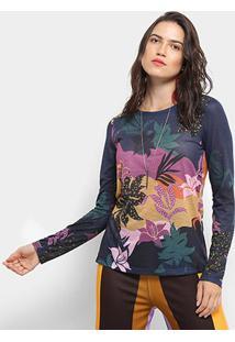 Camiseta Cantão Manga Longa Estampa Floral Feminina - Feminino-Azul Escuro