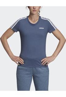 Camiseta Adidas Essentials 3Stripes Feminina - Feminino-Azul