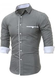 Camisa Masculina Slim Manga Longa - Cinza G