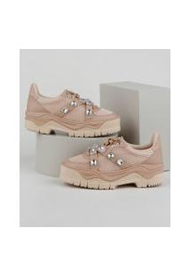 Tênis Feminino Zatz Sneaker Chunky Com Strass Rosê