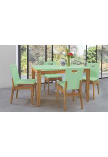 Mesa De Jantar 4 Cadeiras Tucupi 120Cm - Acabamento Stain Nózes E Verde Sálvia