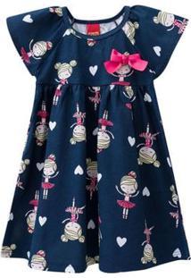 Vestido Infantil - Meia Malha - Bailarina - Azul Marinho - Kyly - 1