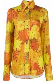 Ellery Camisa Com Estampa Floral - Laranja