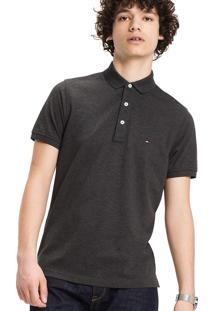Polo Tommy Hilfiger Masculina Slim Fit Charcoal
