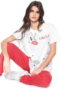 Camiseta Coca-Cola Jeans Lettering Branca