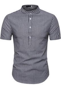 Camisa Listrada Nottingham - Cinza
