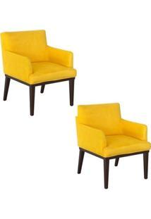 Kit Com 02 Poltronas Decorativa Para Sala De Estar E Escritório Vitória Suede Amarelo - Amarena Móveis