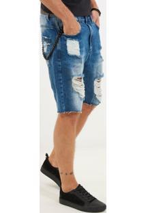 Bermuda John John Rock França Jeans Azul Masculina (Jeans Medio, 42)