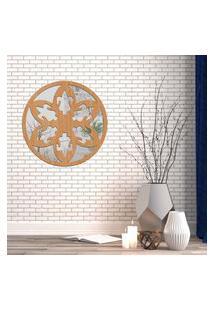 Escultura De Parede Wevans Mandala Beautiful, Madeira + Espelho Decorativo Único