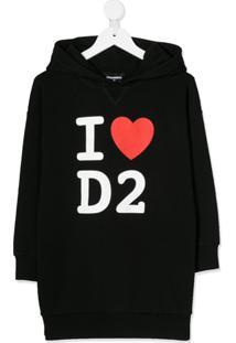 Dsquared2 Kids Vestido Com Capuz E Logo - Preto