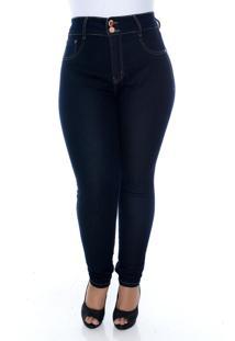 Calça Xtra Charmy Jeans Plus Size Com Cinta Modeladora Betty Azul