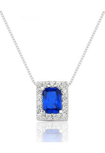 Colar Prata Rara Princesa Retangular Azul Safira