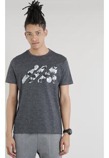 96f1b818d4 Camiseta Masculina Esportiva Ace Logo Manga Curta Gola Careca Cinza Mescla  Escuro