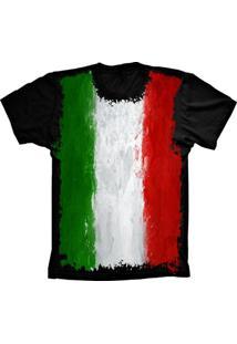 Camiseta Baby Look Lu Geek Flag Italia Preto