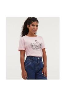 Camiseta Com Bordado Floral - Todas Avançam Juntas | Blue Steel | Rosa | G
